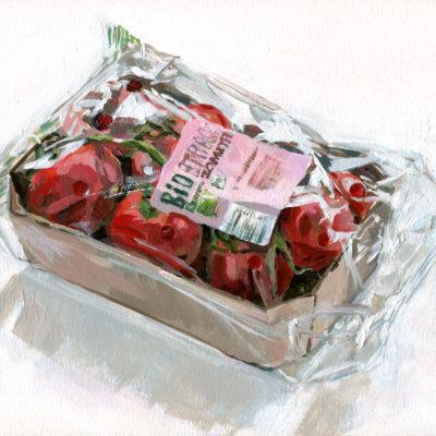 Bio Tomaten, Acryl auf Papier, DIN 4