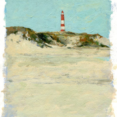 Amrum Leuchtturm, Aqua-Ölfarbe auf Papier, 17 × 21 cm