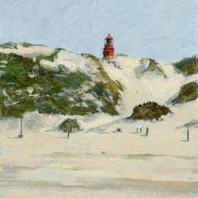 Amrum Leuchtturm über den Dünen, Aqua-Ölfarbe auf Papier, 17 × 21 cm