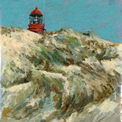 Amrum Leuchtturmspitze, Aqua-Ölfarbe auf Papier, 17 × 21 cm