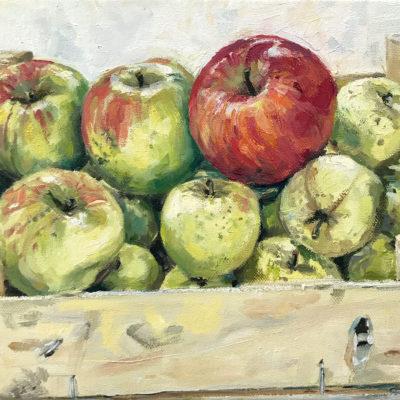 Atelier Äpfel, Öl auf Leinwand, 25 × 30 cm