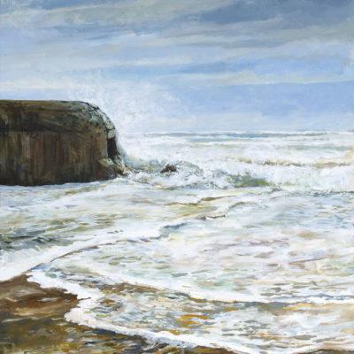 Aushalten, Acryl auf Leinwand, 82 × 60 cm