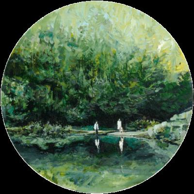 Familienwald, Acryl auf Leinwand, 30 cm