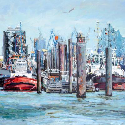 Hamburg Hafen Schlepper, Acryl auf Leinwand, 80 × 100 cm