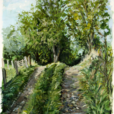 Feldweg in Katingsiel, Acryl auf Papier, 42 × 30 cm