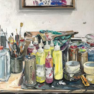 Malwins Farben, Acryl und Öl auf Leinwand, 40 × 40 cm