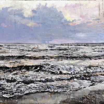 Nordseeabend, Öl auf Strandgut, 22 × 28 cm