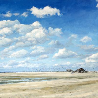 Nordseeliebe, Acryl auf Leinwand, 80 × 160 cm