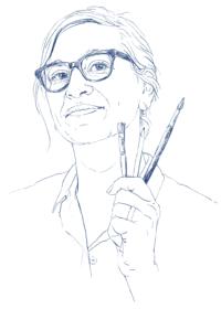 Ute Martens Selbstportrait mit Pinseln
