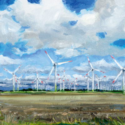 Windkraft, Öl auf Malpappe, 15 × 15 cm