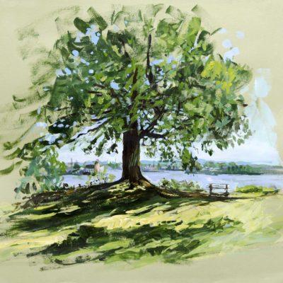 Elbblick Studie, Acryl auf Farbpapier