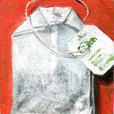 Abwarten und Teetrinken, 8 x 5 cm, Öl auf Leinwändchen, 2021