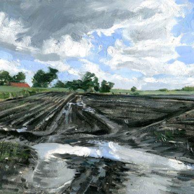 Acker im Winter, Eiderstedt, Öl auf Hartfaserplatte, 18 x 24 cm, 2021