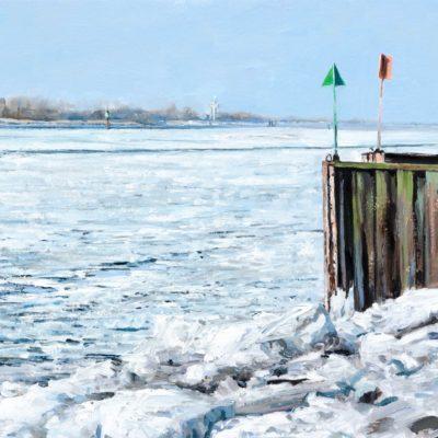 Hoffnung, Elbe im Winter 21, Öl auf Holzplatte, 30 x 40 cm, 2021