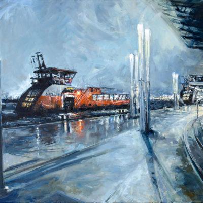 Landungsbrücken im Lockdown, Öl auf Leinwand, 50 x 70 cm, 2021